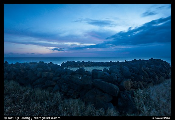 Ruins of ancient hawaiian temple at dusk, South Point. Big Island, Hawaii, USA