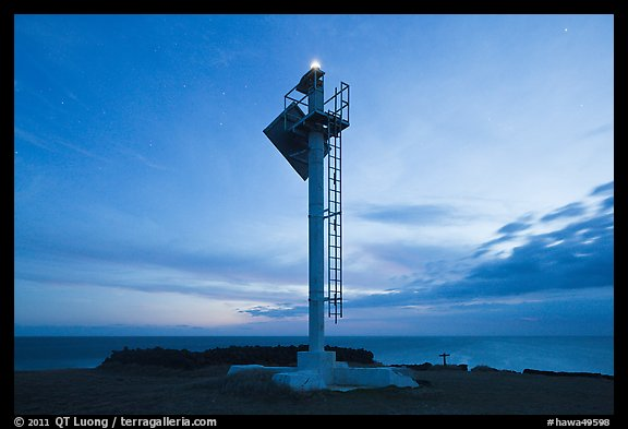 Ka Lea Light at dusk, southernmost point in the US. Big Island, Hawaii, USA (color)