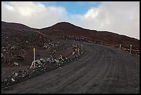 Unpaved road and volcanic landscape. Mauna Kea, Big Island, Hawaii, USA (color)