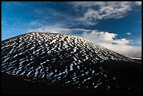 Cinder cone with stripes of snow. Mauna Kea, Big Island, Hawaii, USA (color)