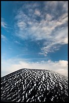Snowy cinder cone and clouds. Mauna Kea, Big Island, Hawaii, USA (color)
