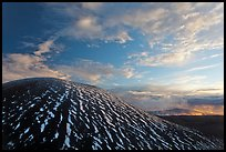 High altitude volcano with snow at sunset. Mauna Kea, Big Island, Hawaii, USA (color)