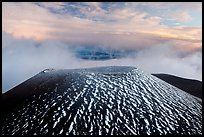 Cinder cone and sea of clouds at sunset. Mauna Kea, Big Island, Hawaii, USA (color)