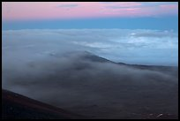 Sea of clouds and earth shadow. Mauna Kea, Big Island, Hawaii, USA (color)