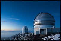 Observatories at dusk. Mauna Kea, Big Island, Hawaii, USA ( color)