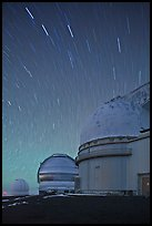 Telescopes and star trails. Mauna Kea, Big Island, Hawaii, USA (color)
