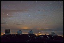 Mauna Kea observatories at night. Mauna Kea, Big Island, Hawaii, USA (color)