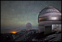 Telescopes and stars at night. Mauna Kea, Big Island, Hawaii, USA (color)