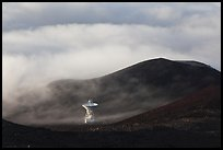 Radio telescope and clouds. Mauna Kea, Big Island, Hawaii, USA (color)