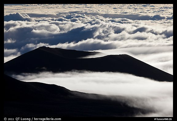 Dark ridges and clouds from above. Mauna Kea, Big Island, Hawaii, USA