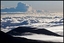 Ridges and sea of clouds. Mauna Kea, Big Island, Hawaii, USA (color)
