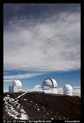 Summit observatories. Mauna Kea, Big Island, Hawaii, USA (color)