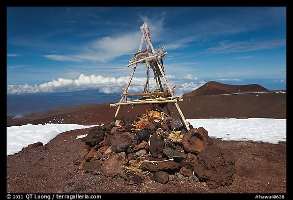 Mountain summit and hawaiian altar. Mauna Kea, Big Island, Hawaii, USA (color)