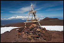 Mountain summit and hawaiian altar. Mauna Kea, Big Island, Hawaii, USA