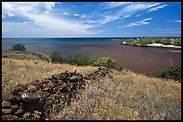 Site of submerged Hale o Kapuni Heiau, Puukohola Heiau National Historic Site. Big Island, Hawaii, USA (color)
