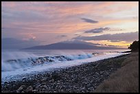 Lanai Island and crashing surf at sunset. Lahaina, Maui, Hawaii, USA ( color)