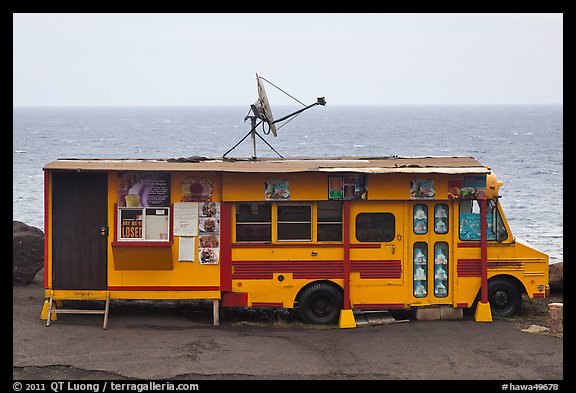 Reconverted school bus, Kahakuloa. Maui, Hawaii, USA