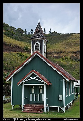 Green church, Kahakuloa. Maui, Hawaii, USA (color)