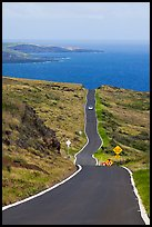 One-lane road overlooking ocean. Maui, Hawaii, USA ( color)
