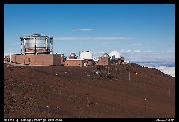 Maui Space Surveillance Complex, Haleakala observatories. Maui, Hawaii, USA (color)
