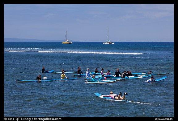 Surfing class. Lahaina, Maui, Hawaii, USA (color)