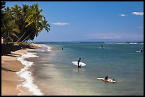 Beach and surfers. Lahaina, Maui, Hawaii, USA (color)