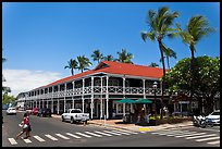 Pioneer Inn and streets. Lahaina, Maui, Hawaii, USA (color)