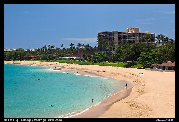 Beach and resort, Kaanapali. Lahaina, Maui, Hawaii, USA (color)