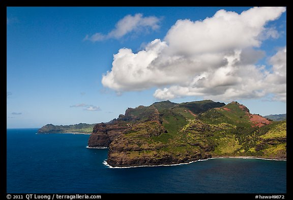 Aerial view of coastline near Lihue. Kauai island, Hawaii, USA (color)