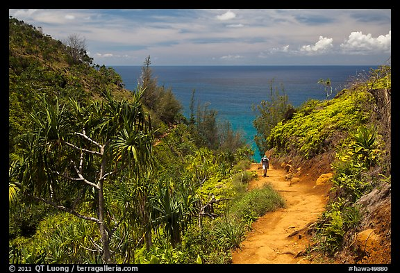 Hiking Kalalau trail. Kauai island, Hawaii, USA (color)