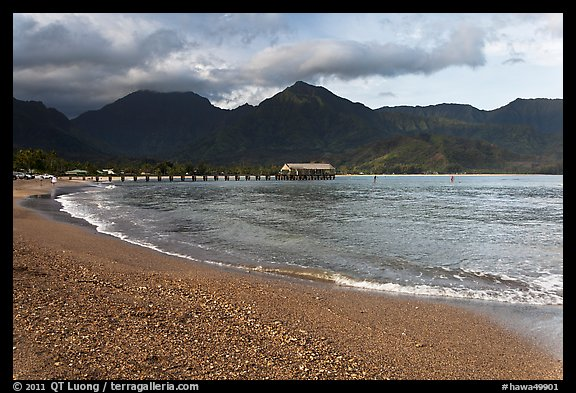 Beach and Bay, Hanalei. Kauai island, Hawaii, USA (color)