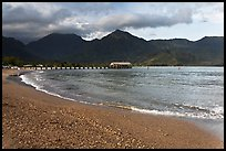 Beach and Bay, Hanalei. Kauai island, Hawaii, USA ( color)