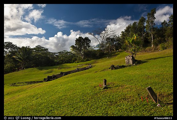 Chinese cemetery, Hanalei Valley. Kauai island, Hawaii, USA (color)