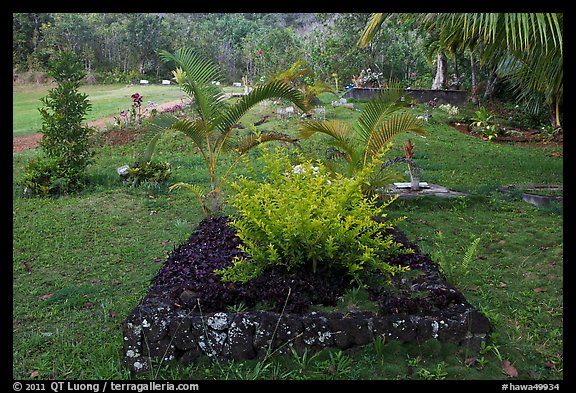 Tomb made of lava rock, Hanalei Valley. Kauai island, Hawaii, USA