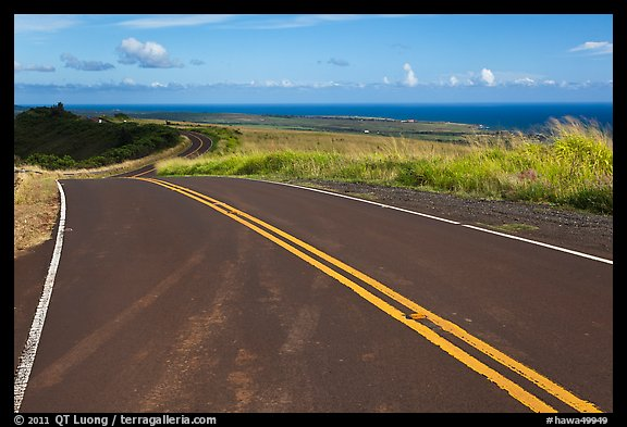 Road on way down from Waimea Canyon. Kauai island, Hawaii, USA