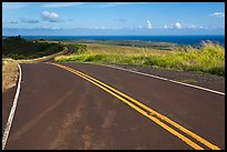 Road on way down from Waimea Canyon. Kauai island, Hawaii, USA (color)