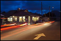 Restaurant and street by night, Lihue. Kauai island, Hawaii, USA (color)