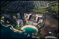 Aerial view of Cove and resort. Honolulu, Oahu island, Hawaii, USA (color)