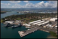 Hickam AFB and Pearl Harbor. Honolulu, Oahu island, Hawaii, USA (color)