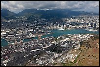 Aerial view of harbor. Honolulu, Oahu island, Hawaii, USA ( color)
