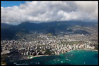Honolulu from the air. Honolulu, Oahu island, Hawaii, USA (color)