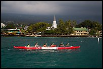 Outrigger canoe and Mokuaikaua church, Kailua-Kona. Hawaii, USA (color)
