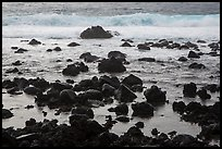 Volcanic rocks and surf, Pohoiki. Big Island, Hawaii, USA ( color)
