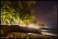 Waterfront at night, Kailua-Kona. Hawaii, USA (color)