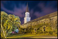 Mokuaikaua church at night, Kailua-Kona. Hawaii, USA (color)