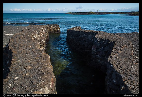 Walled stream flowing into Kiholo Bay. Big Island, Hawaii, USA (color)