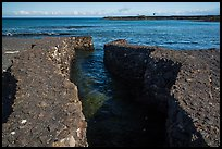 Walled stream flowing into Kiholo Bay. Big Island, Hawaii, USA ( color)