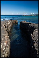 Walled stream and Kiholo Bay. Big Island, Hawaii, USA (color)