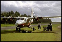 Plane on the airstrip of Ofu Island. American Samoa (color)