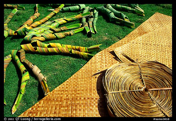 Pandanus leaves and a finished toga (mat) made out of it. American Samoa (color)